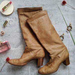 J.CREW Sutton tall leather midheel boot cognac